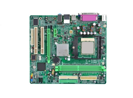 Printed computer motherboard board, isolated on white background