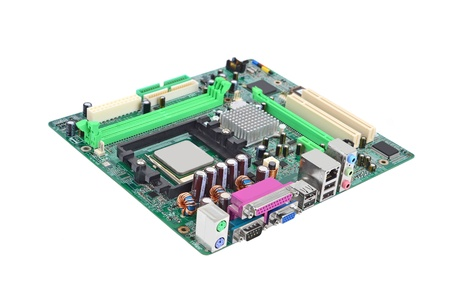 cmos: Printed computer motherboard, isolated on white background