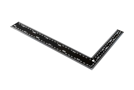 angle bar: Iron ruler with angle bar, set square, isolated on a white background
