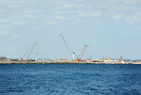 Construction work of new terminal in port, Odessa, Ukraine photo