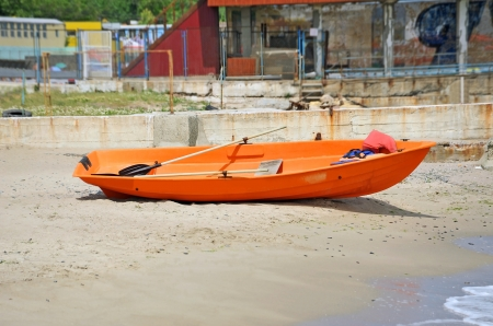 lifeboat station: Plastic boat at beach lifeguard station, Odessa, Ukraine