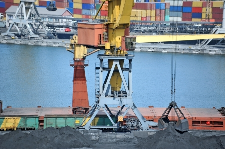 Cargo crane, freight traine and coal in port photo