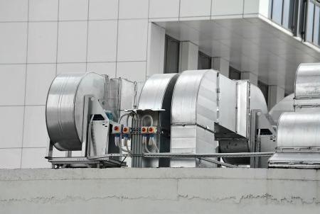mechanical ventilation: Industrial air conditioning and ventilation systems on a roof