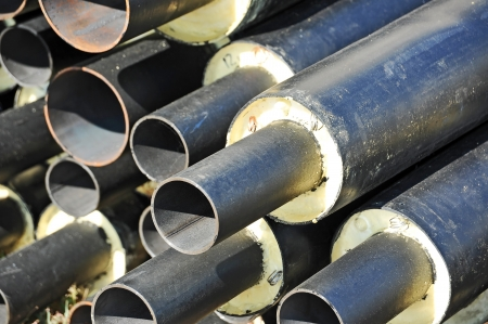 tubular: Steel pipe with heat insulation on construction site