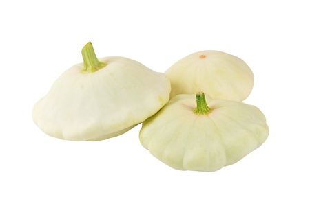 scalloped: Scalloped custard squash (Cucurbita pepo var. patisson), isolated on white background Stock Photo