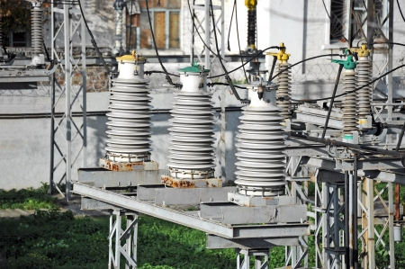 superconductor: Part of high-voltage substation with switches and disconnectors Stock Photo