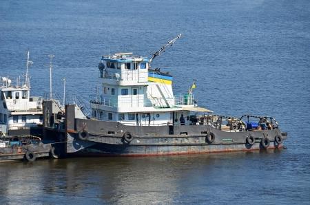 the dnieper: Tugboat on a river Dnieper, Kiev, Ukraine