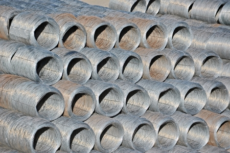 Stacked steel wire roll ready for shipment in port photo