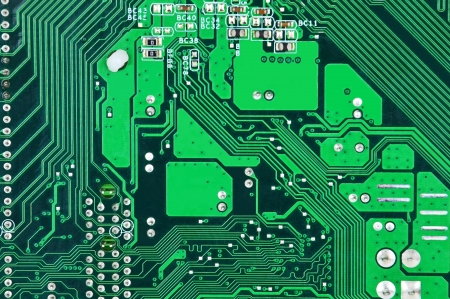 byte: Close up of a printed green computer circuit board