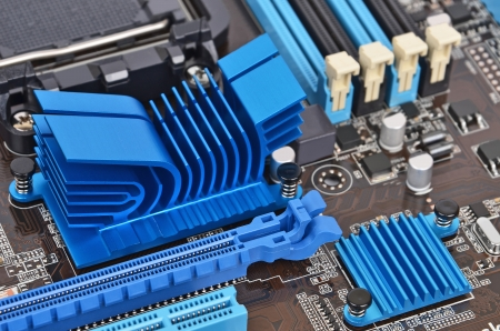 microelectronics: Printed computer motherboard with RAM connector slot