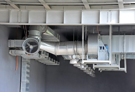 mechanical ventilation: Industrial air conditioning and ventilation systems under roof