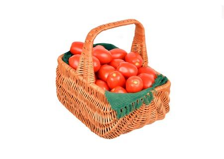 wattled: Fresh tomato in wattled basket