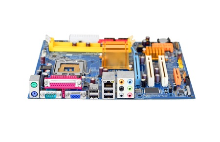 microelectronics: Printed computer motherboard, isolated on white background