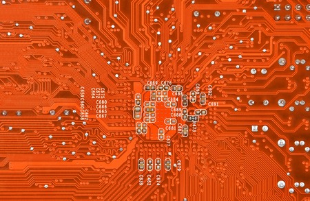 Close up of a printed computer circuit board photo