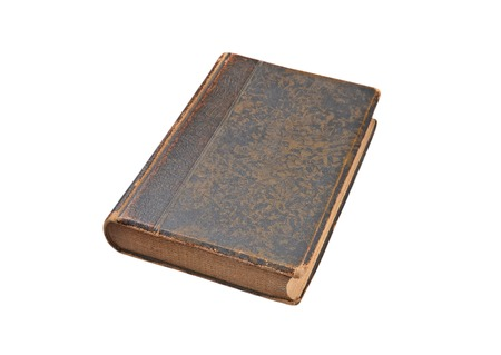 Brown antique book, isolated on white background photo