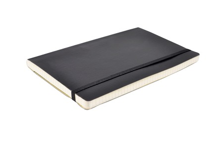 Black diary book (notepad), isolated on white background photo