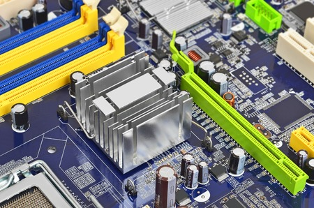 microcircuit: Printed computer motherboard with microcircuit, close up, DOF