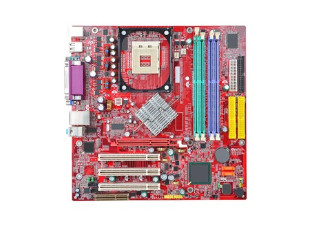 terabyte: Printed computer motherboard, isolated on white background