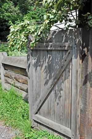 garden settlement: Vintage wooden rural gate in garden, Pirogovo, Kiev, Ukraine Stock Photo