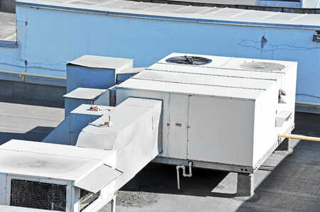 roof: Industrial steel air conditioning and ventilation systems