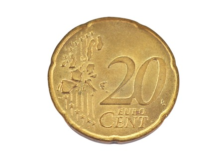 Coin, denominational value 20 euro cent on white background Stock Photo