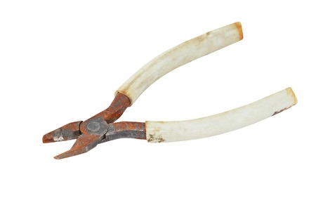 wire cutter: Old and rusty wire cutter, isolated on white background