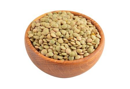 green lentil: Green lentil in wooden bowl, isolated on white background
