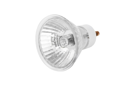 Een halogeenlamp, geïsoleerd op een witte achtergrond Stockfoto