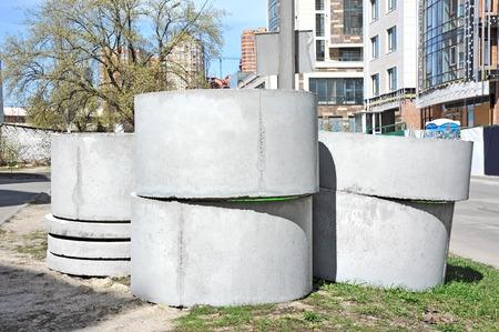 sump: Calcestruzzo blocco circolare fossa in cantiere