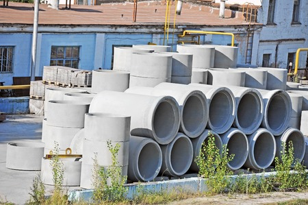 culvert: Concrete circle pit and pipe block on factory yard