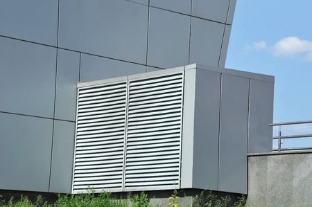 ventilate: Industrial air conditioning and ventilation systems on the sreet Stock Photo
