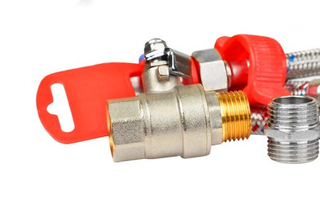 hosepipe: Plumbing fitting, tap and hosepipe, isolated on white background