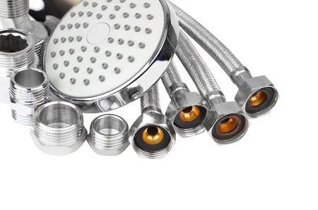 plumbing accessories: Plumbing fitting, hosepipe and showerhead, isolated on white background