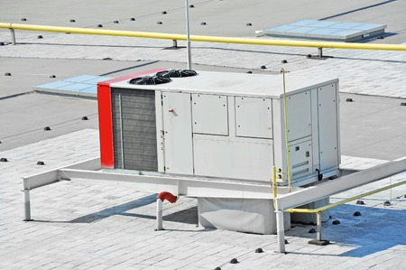 cold air: Industrial air conditioning and ventilation systems on a roof