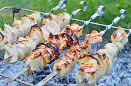 chargrill: Shish kebab on skewers and hot coals Stock Photo