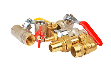elbow white sleeve: Plumbing fitting and ball valve, isolated on white background