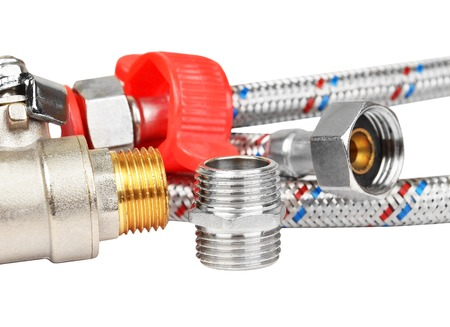 hydraulic hoses: Plumbing fitting, tap and hosepipe, isolated on white background