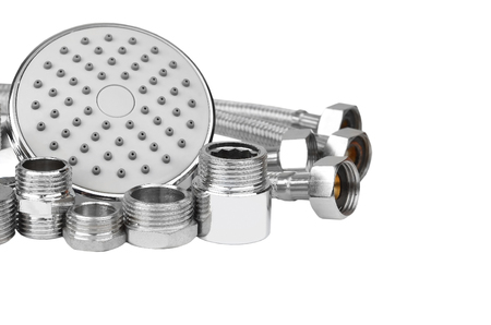 hosepipe: Plumbing fitting, hosepipe and showerhead, isolated on white background