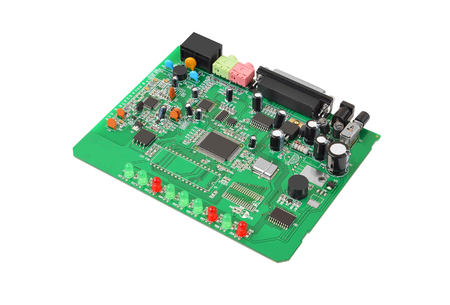 modem: Printed green circuit board from dial-up modem