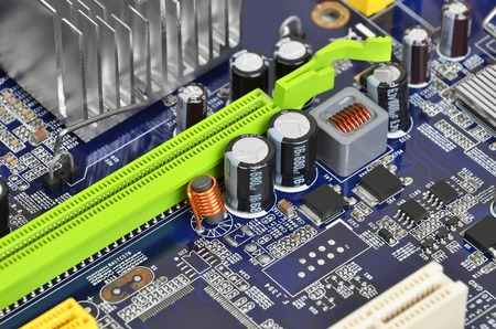 printed: Printed computer motherboard with microcircuit, close up