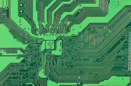 cmos: Close up of a printed green computer circuit board