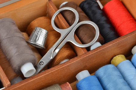 snips: Sewing kit from threads, scissors and thimble