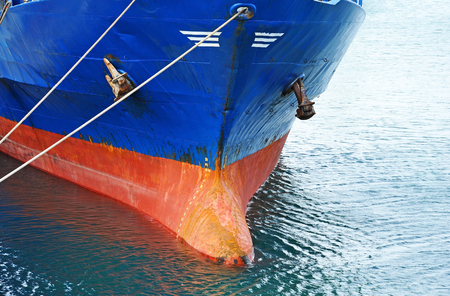 ship bow: Bulbous bow and keel of bulk cargo ship