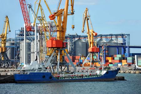 odessa: Bunker ship (fuel replenishment tanker) under port crane, Odessa, Ukraine