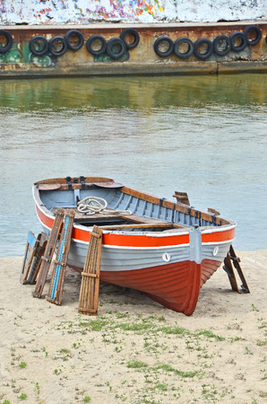 lifeboat station: Old boat at beach lifeguard station, Odessa, Ukraine Stock Photo
