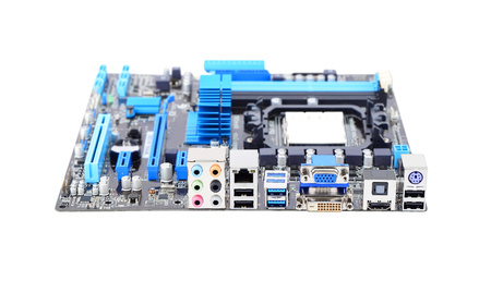 gigabyte: Printed computer motherboard, isolated on a white background Stock Photo
