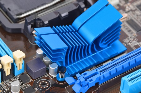 terabyte: Printed computer motherboard with RAM connector slot