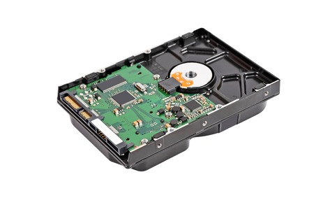 Vista detallada del interior de una unidad de disco duro (HDD) Foto de archivo