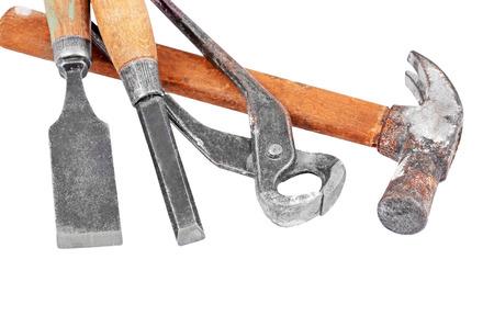 whack: Set of work tool, isolated on white background Stock Photo