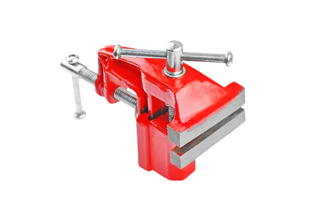 vise: Mechanical hand vise clamp, isolated on white background